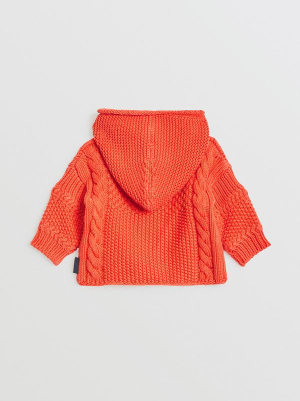 Contrast Knit Cotton Hooded Jacket in Orange Red - Children | Burberry - cell image 3