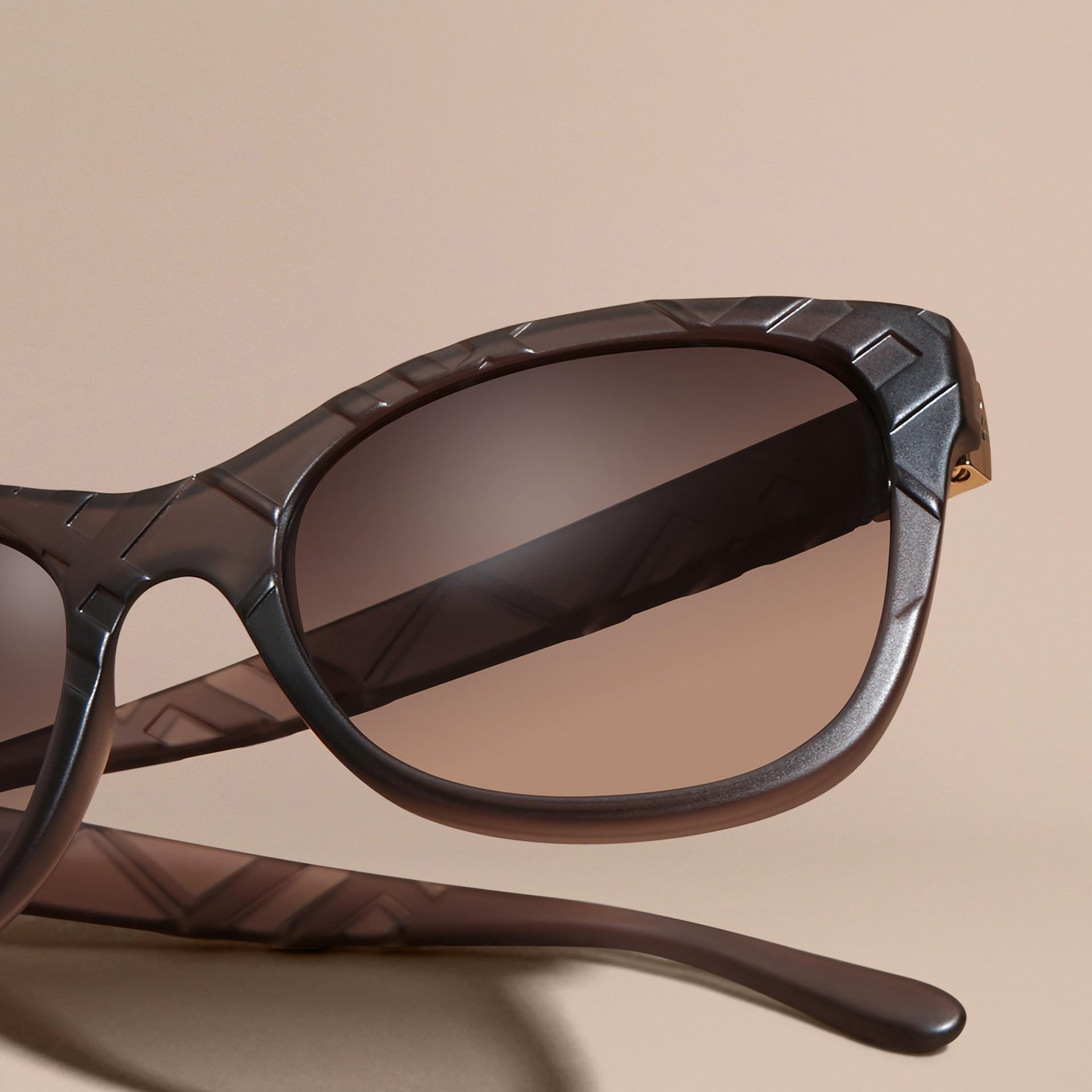 Black 3D Check Square Frame Polarised Sunglasses - gallery image 3