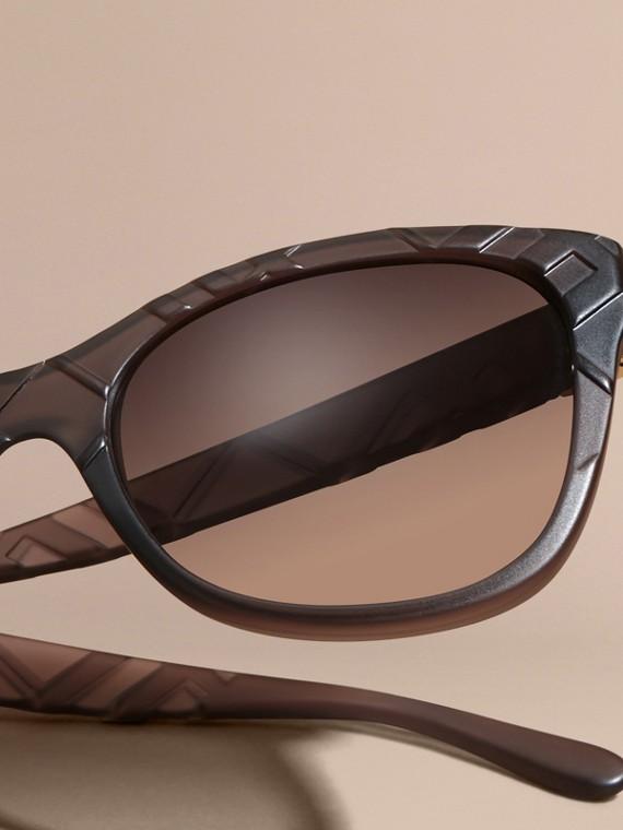 Black 3D Check Square Frame Polarised Sunglasses - cell image 2