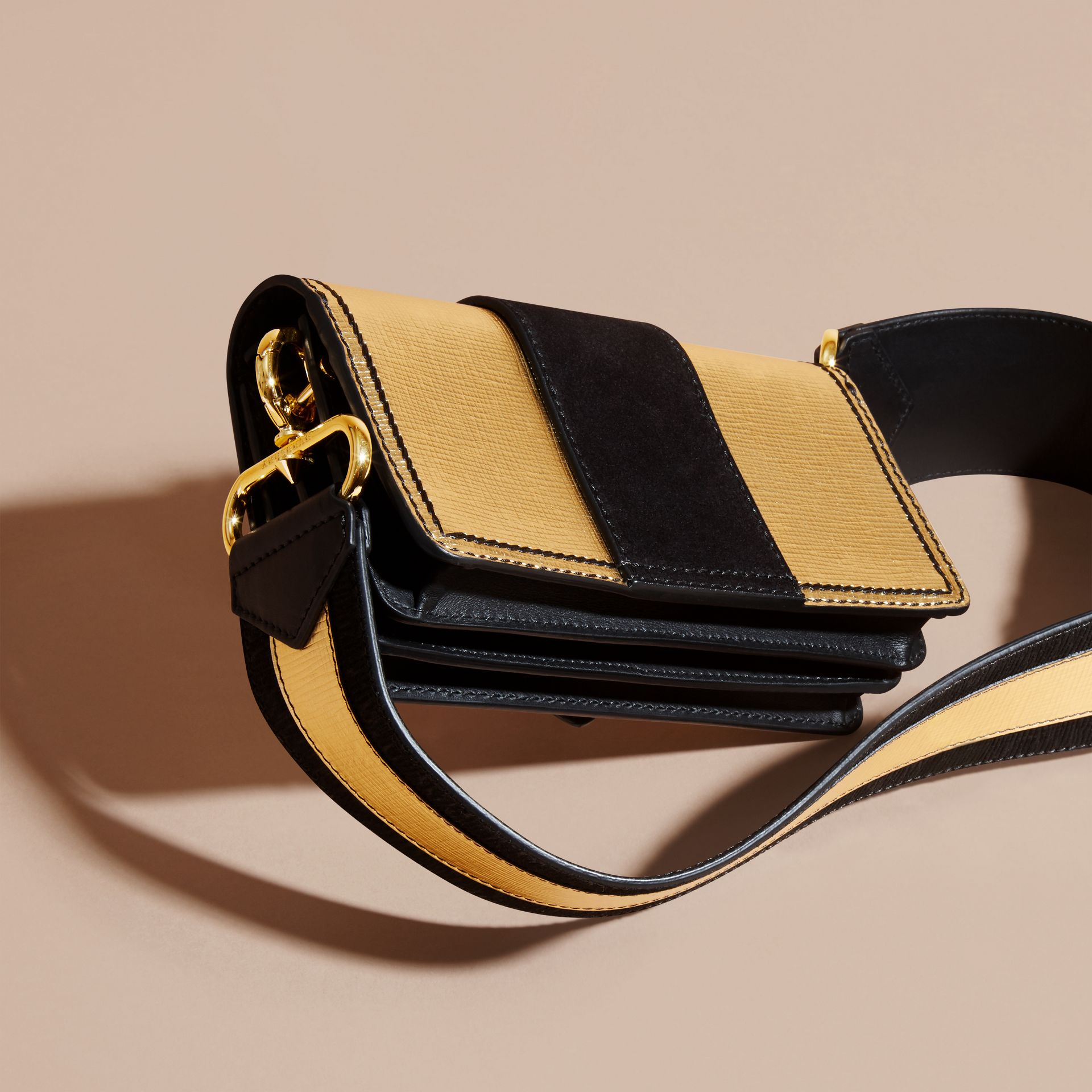 Gold/black The Small Buckle Bag in Metallic Leather and Suede - gallery image 5