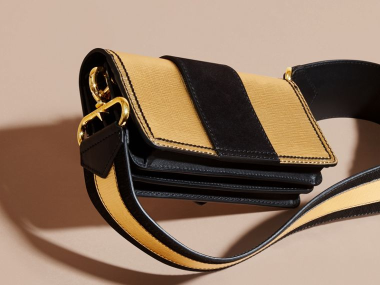 Gold/black The Small Buckle Bag in Metallic Leather and Suede - cell image 4