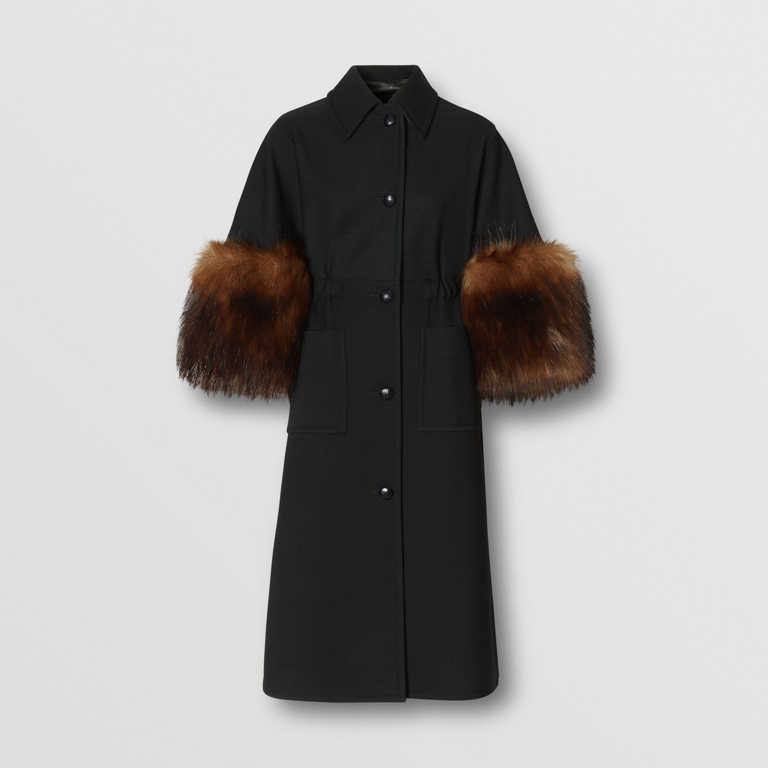 Faux Fur Trim Cape Detail Wool Blend Coat in Black - Women | Burberry United Kingdom - 4