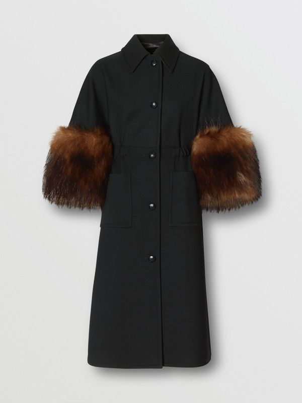 Faux Fur Trim Cape Detail Wool Blend Coat in Black - Women | Burberry - cell image 3