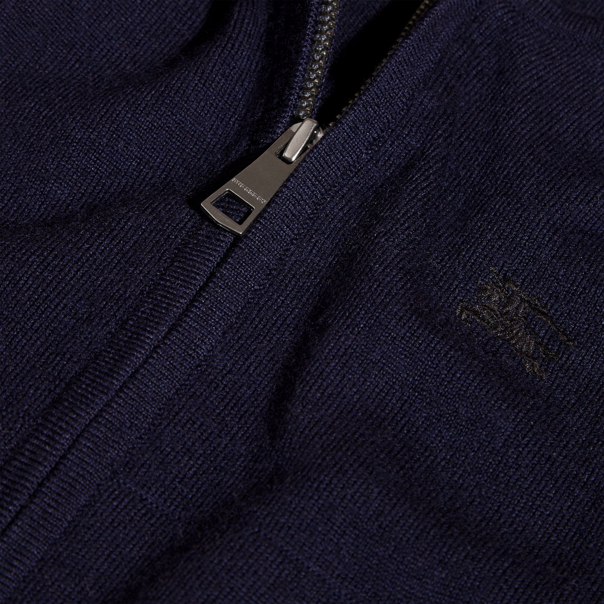 Navy Check Trim Merino Wool Hooded Top Navy - gallery image 2