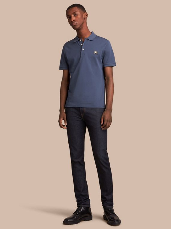 Cotton Piqué Polo Shirt Steel Blue