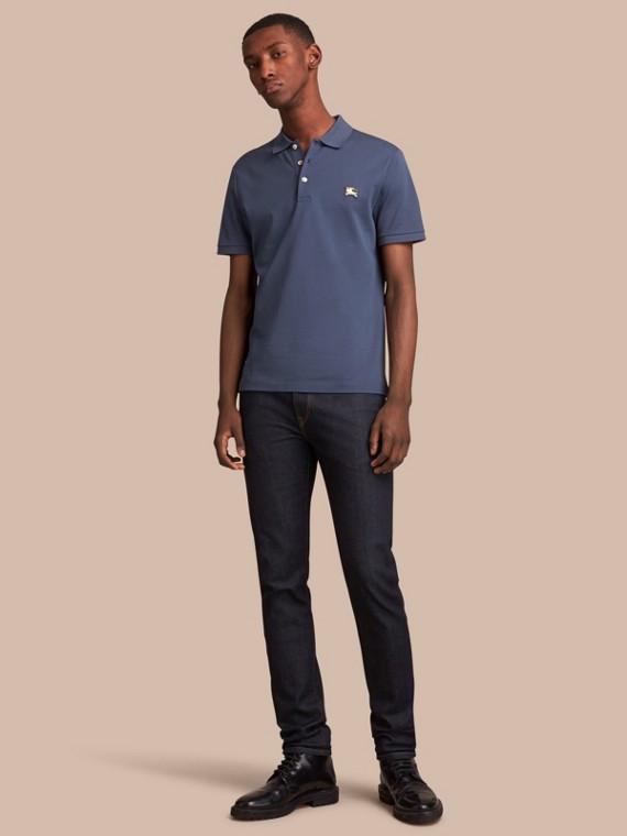 Poloshirt aus Baumwollpiqué Stahlblau