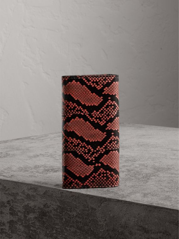 Python and Leather Continental Wallet in Peony - Women | Burberry United States - cell image 2