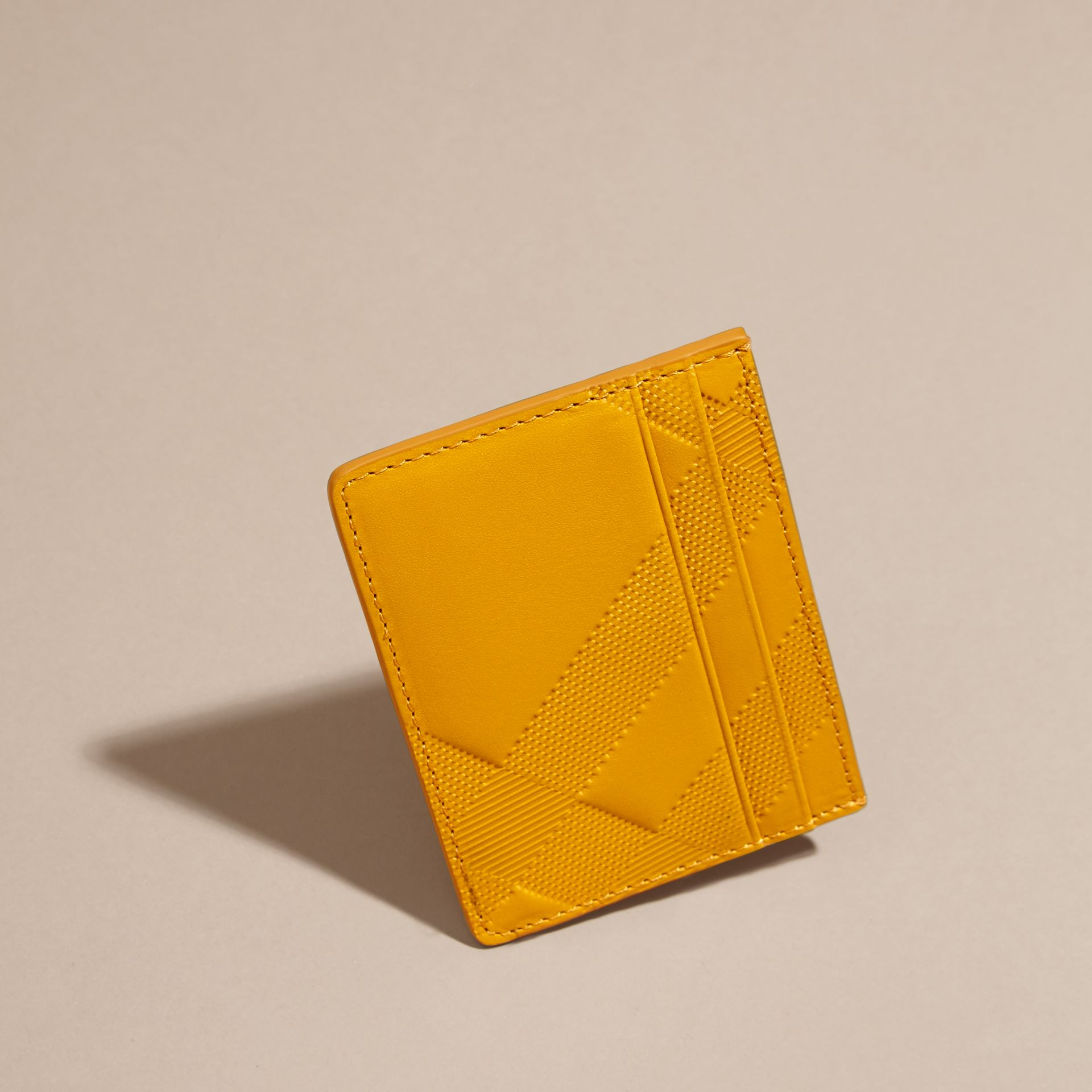 Amber yellow Check Embossed Leather Card Case Amber Yellow - gallery image 3