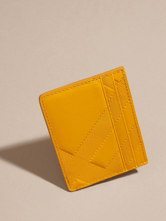 Amber yellow Check Embossed Leather Card Case Amber Yellow - cell image 2