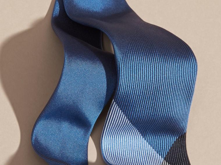 Hydrangea blue Modern Cut Check Jacquard Silk Tie Hydrangea Blue - cell image 1