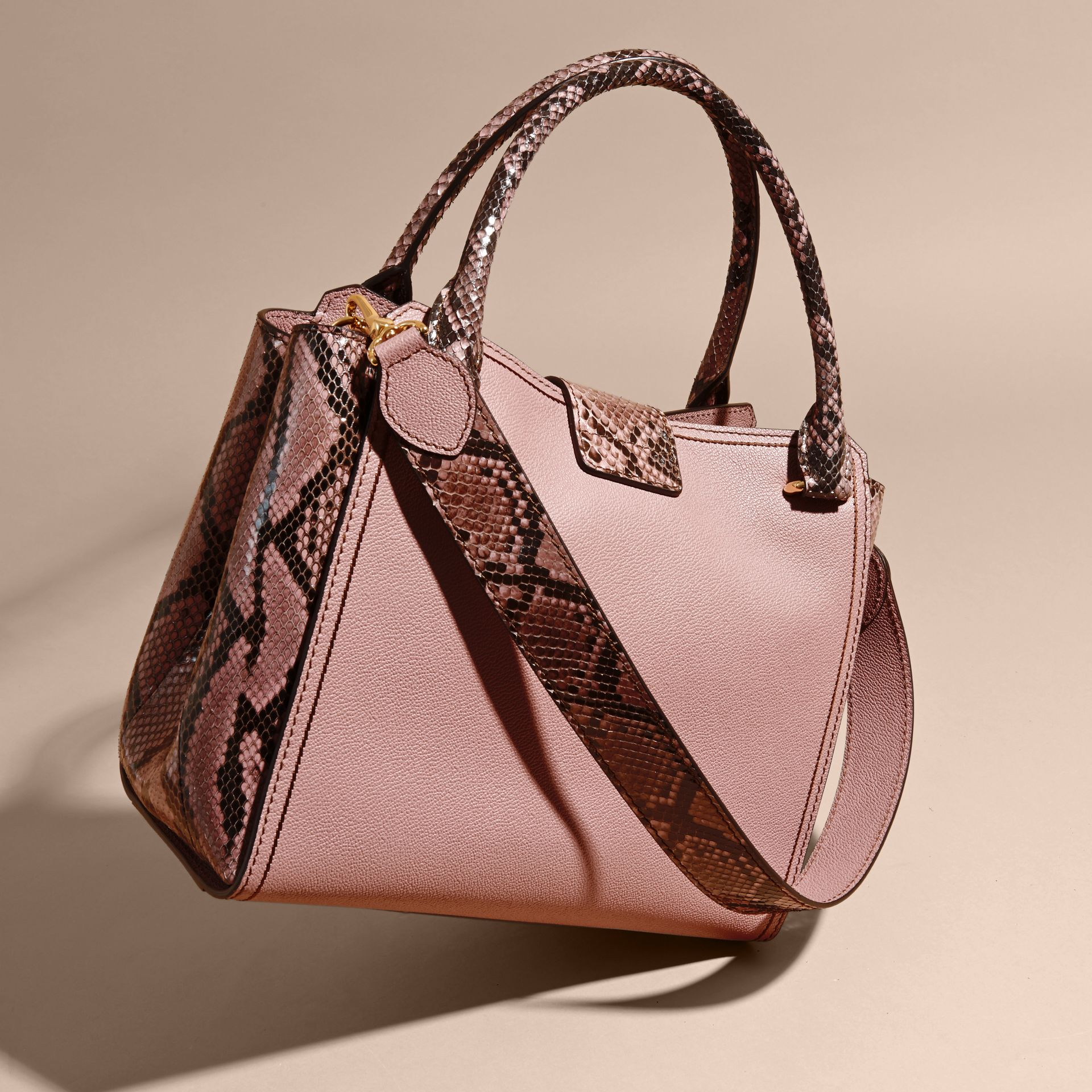 Dusty pink The Medium Buckle Tote in Grainy Leather and Python - gallery image 5