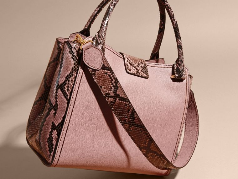 Dusty pink The Medium Buckle Tote in Grainy Leather and Python - cell image 4