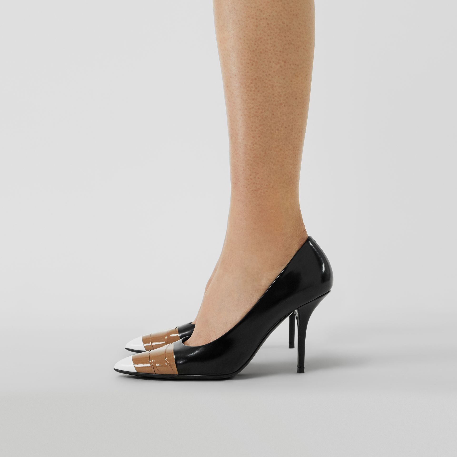 Tape Detail Leather Pumps in Black/optic White - Women | Burberry - gallery image 4