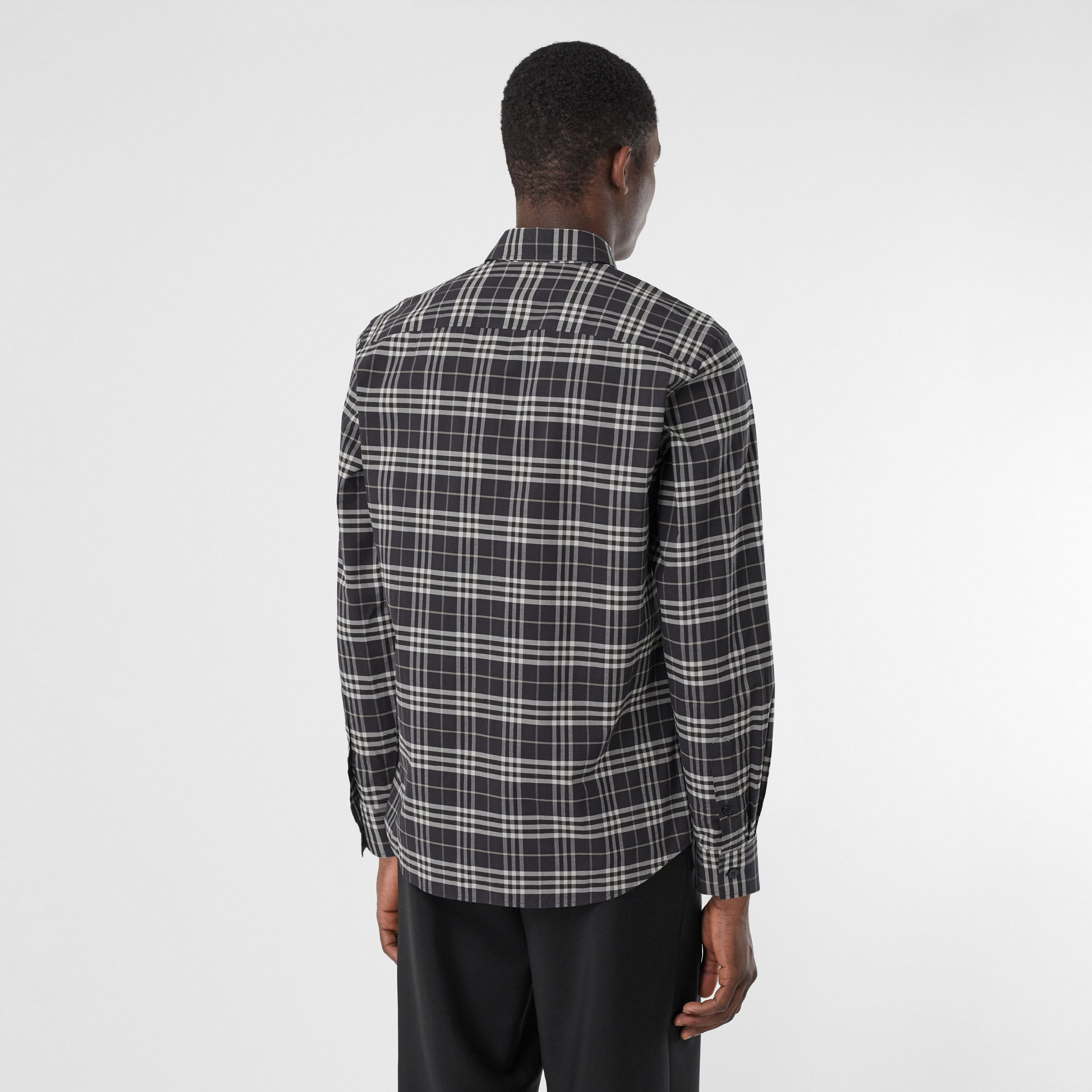 Small Scale Check Stretch Cotton Shirt in Dark Regency Blue - Men | Burberry - 3
