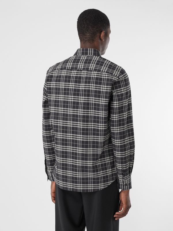 Small Scale Check Stretch Cotton Shirt in Dark Regency Blue - Men | Burberry Australia - cell image 2