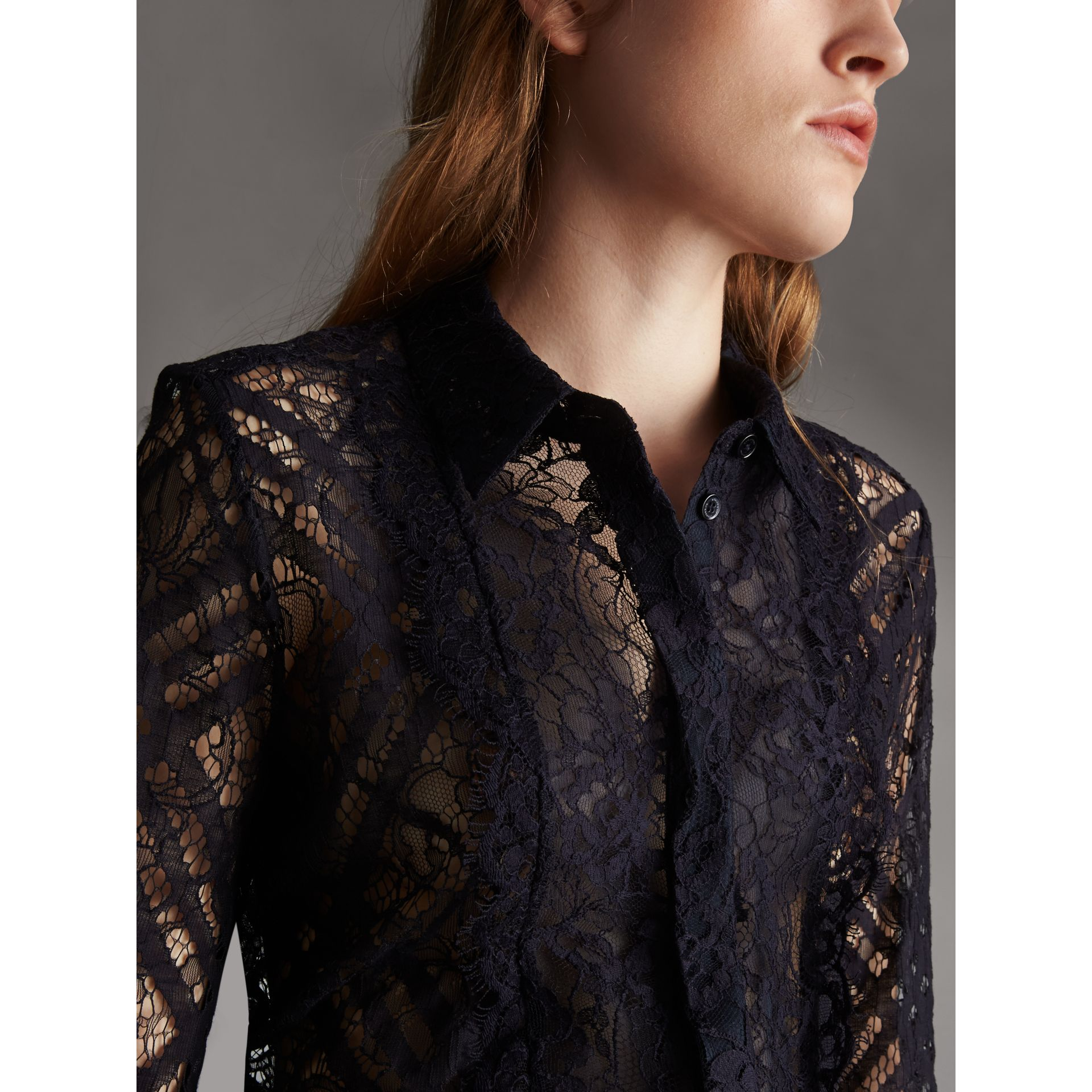 Scalloped Bib Check Lace Shirt - Women | Burberry - gallery image 2