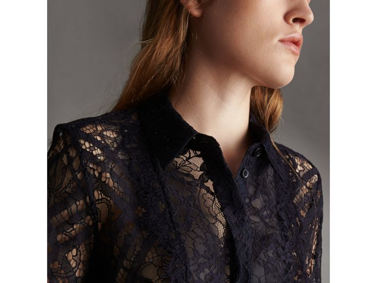 Scalloped Bib Check Lace Shirt - Women | Burberry - cell image 1