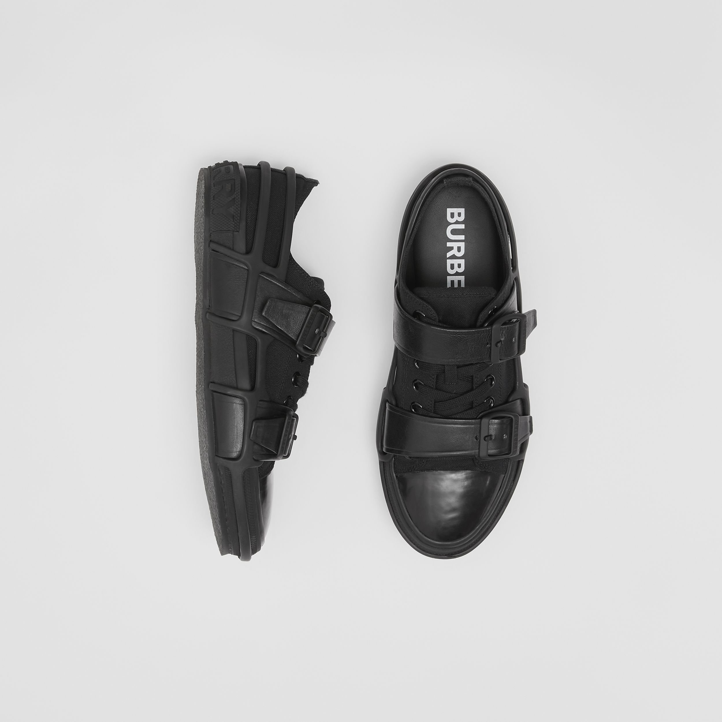 Cotton and Leather Webb Sneakers in Black - Men | Burberry - 1