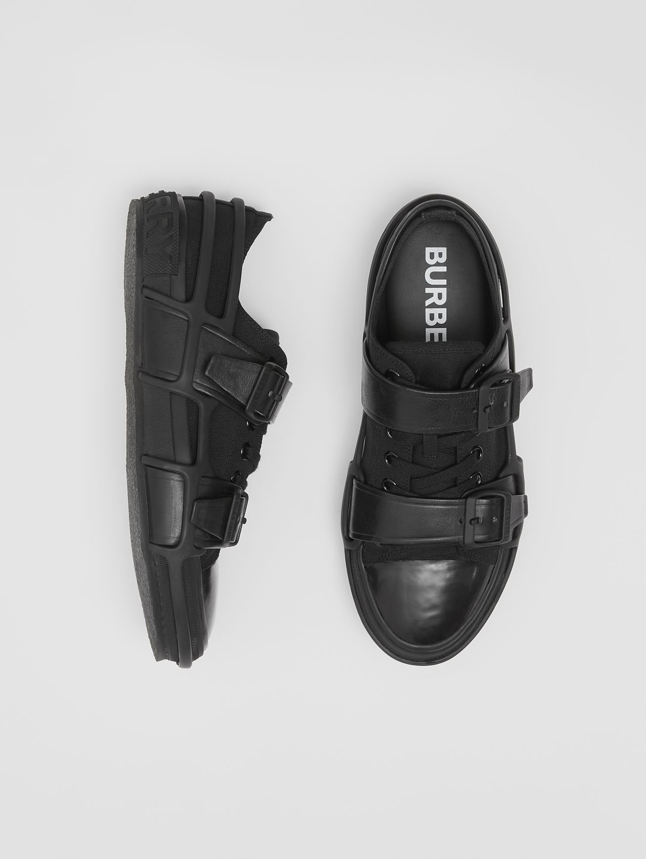 Cotton and Leather Webb Sneakers (Black)