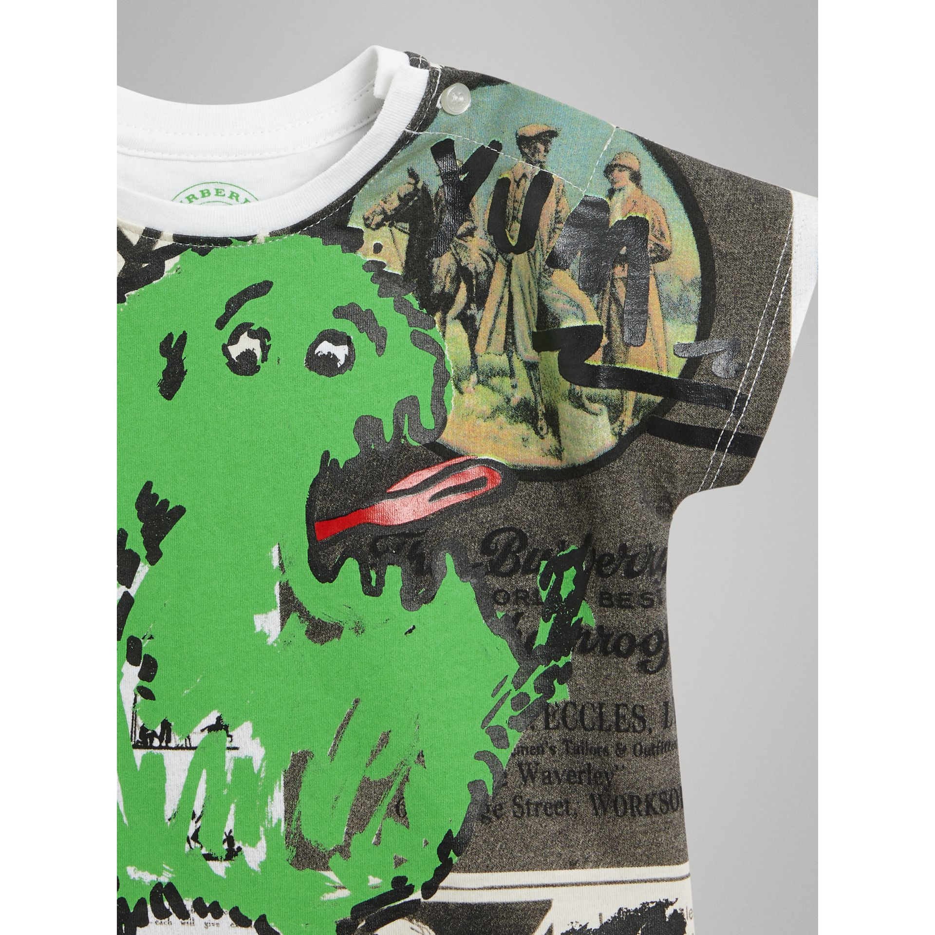 Monster Print Cotton T-shirt in White - Children | Burberry - gallery image 4