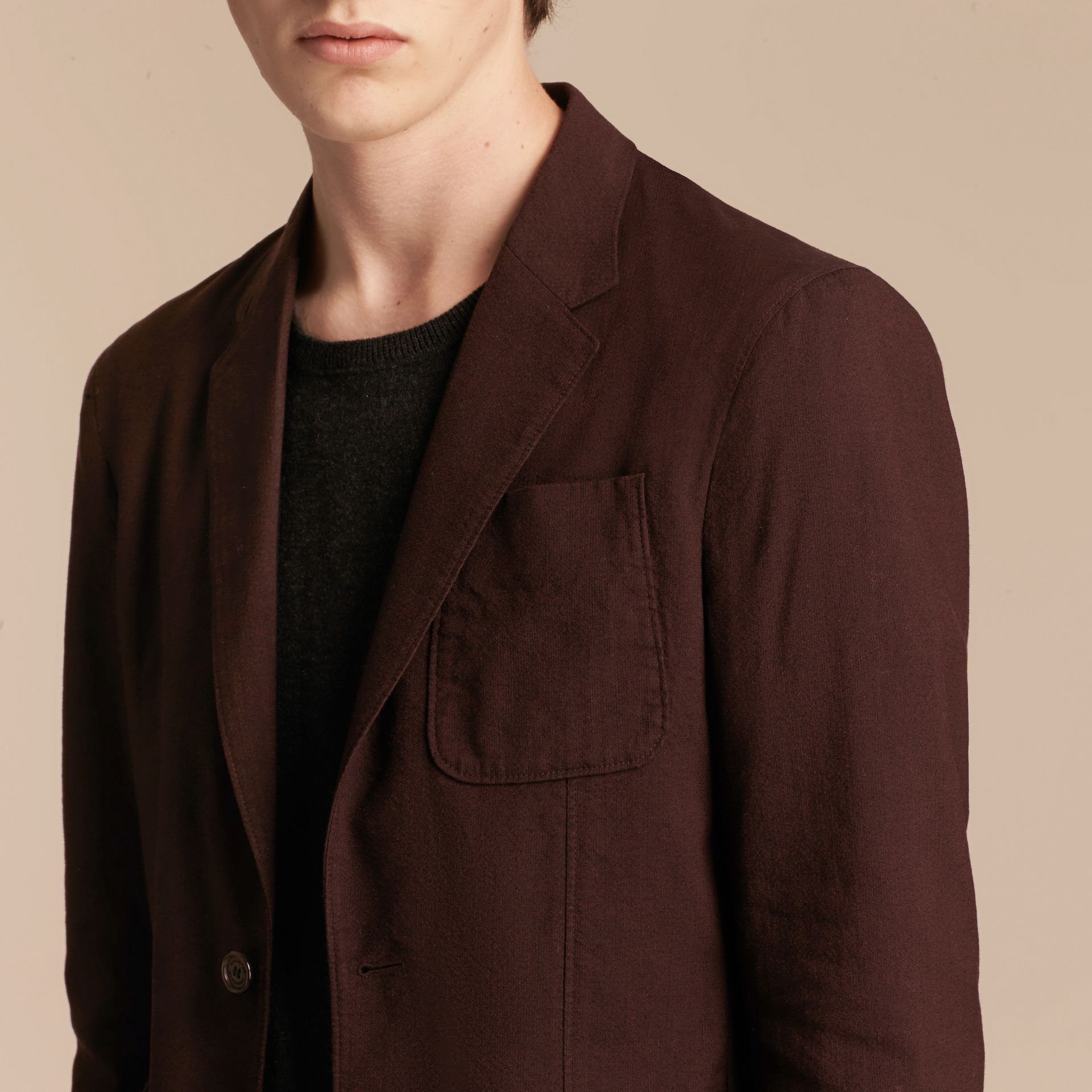 Deep claret Patch Pocket Cotton Wool Blend Tailored Jacket - gallery image 5