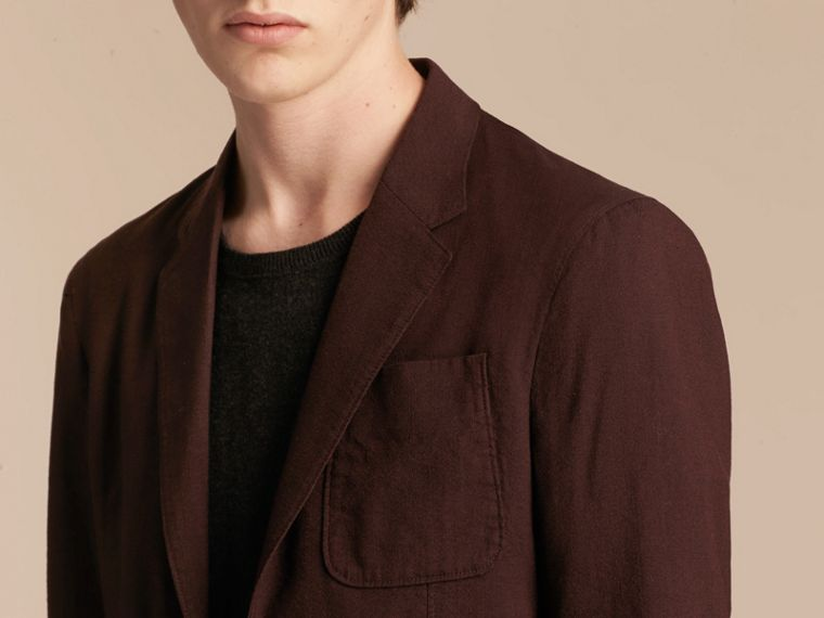 Deep claret Patch Pocket Cotton Wool Blend Tailored Jacket - cell image 4