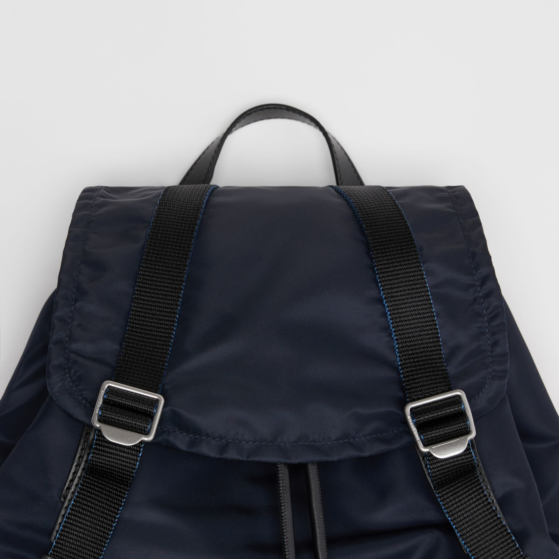 The Large Rucksack in Aviator Nylon and Leather in Ink Blue - Men | Burberry Canada - gallery image 1