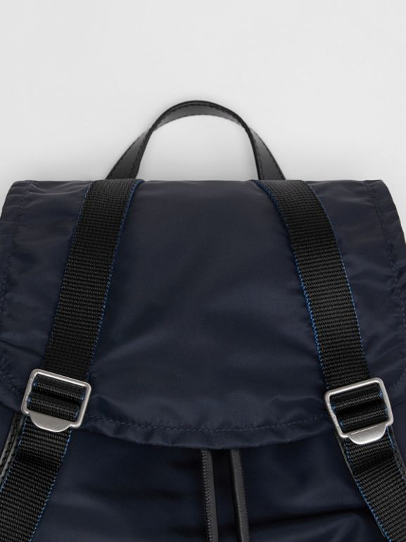 The Large Rucksack in Aviator Nylon and Leather in Ink Blue - Men | Burberry - cell image 1