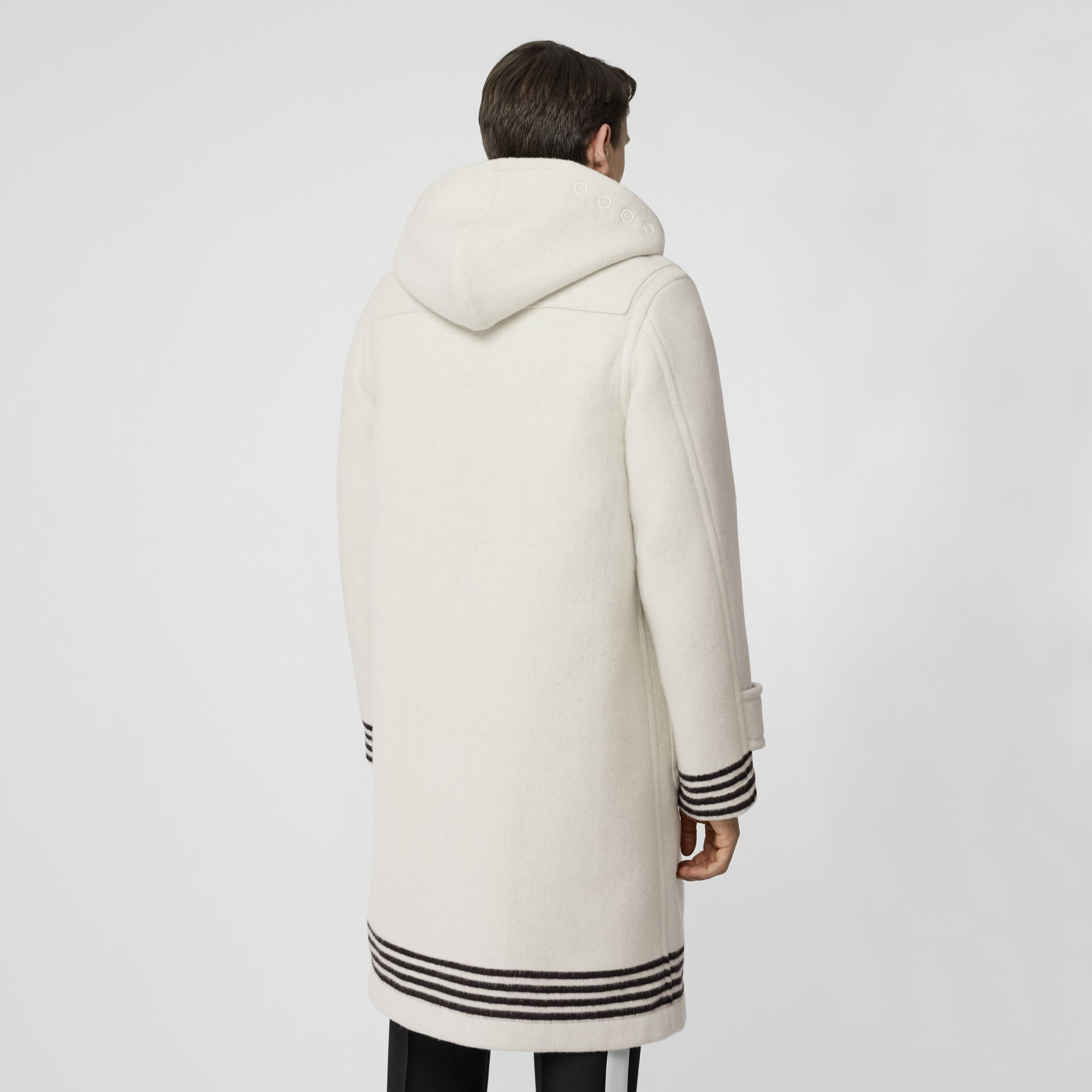 Stripe Detail Double-faced Wool Duffle Coat in White - Men | Burberry - gallery image 2