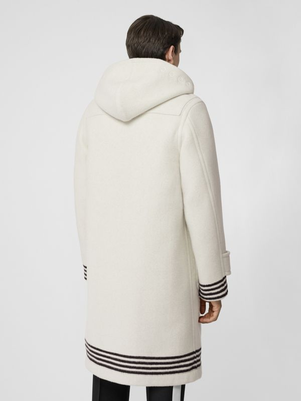 Stripe Detail Double-faced Wool Duffle Coat in White - Men | Burberry United Kingdom - cell image 2