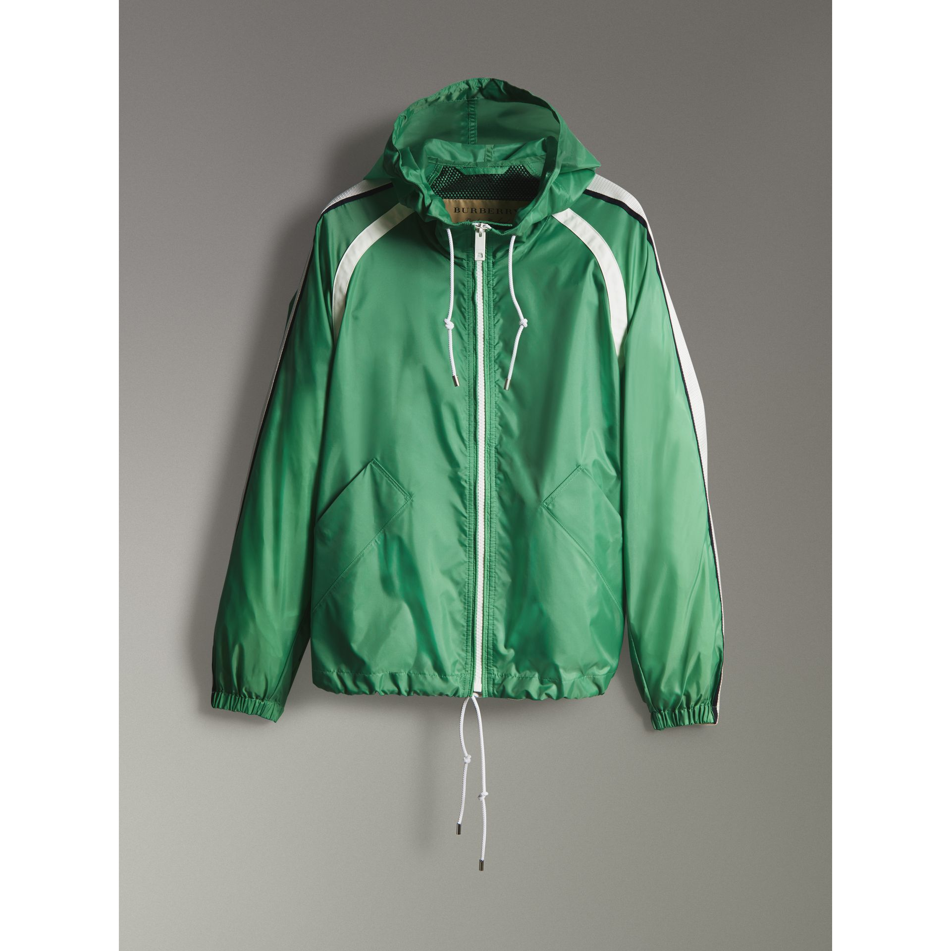 Stripe Detail Showerproof Hooded Jacket in Bright Pigment Green - Men | Burberry United Kingdom - gallery image 3