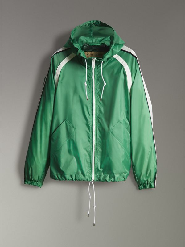 Stripe Detail Showerproof Hooded Jacket in Bright Pigment Green - Men | Burberry United Kingdom - cell image 3