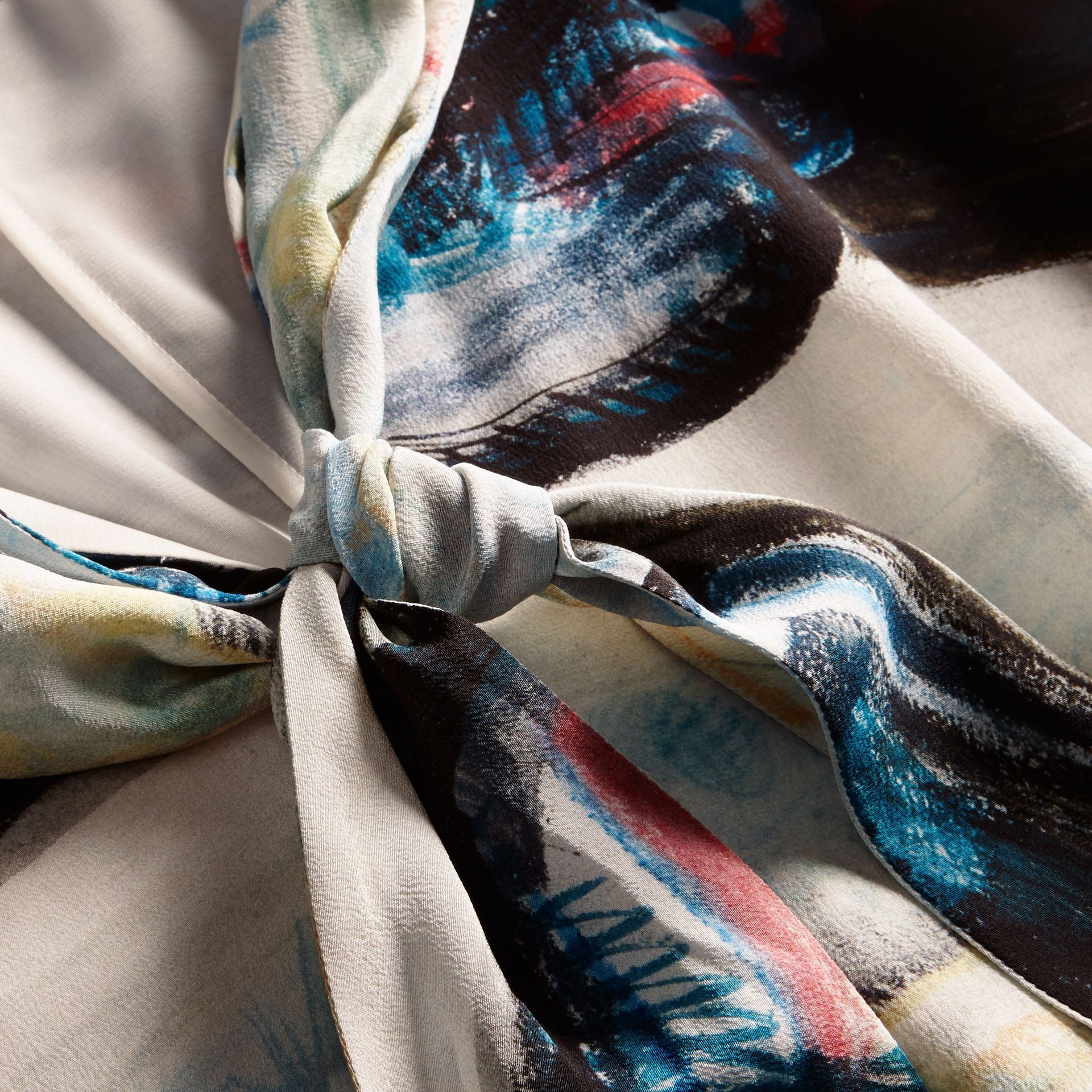 Reclining Figure: Bunched Print Silk Dress with Neck Tie in Natural White - Women | Burberry - gallery image 2
