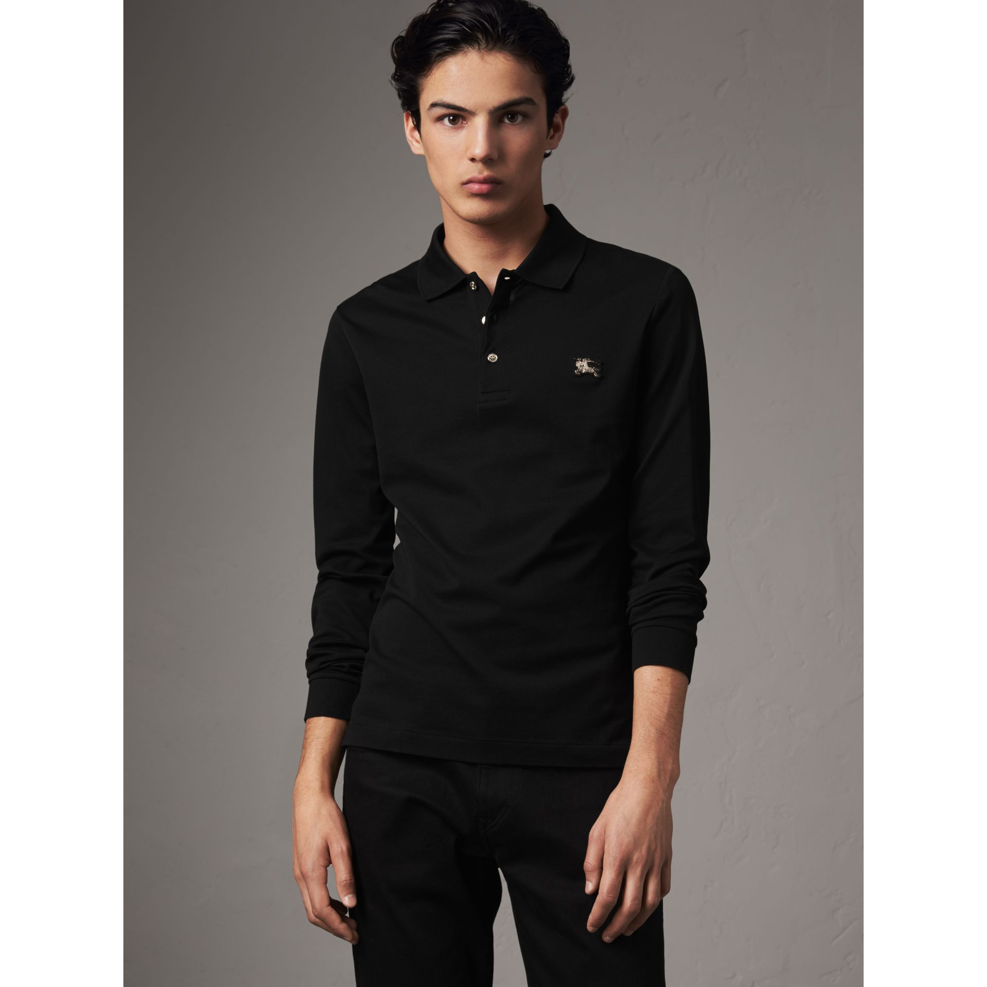 Long-sleeve Cotton Piqué Polo Shirt in Black - Men | Burberry - gallery image 0