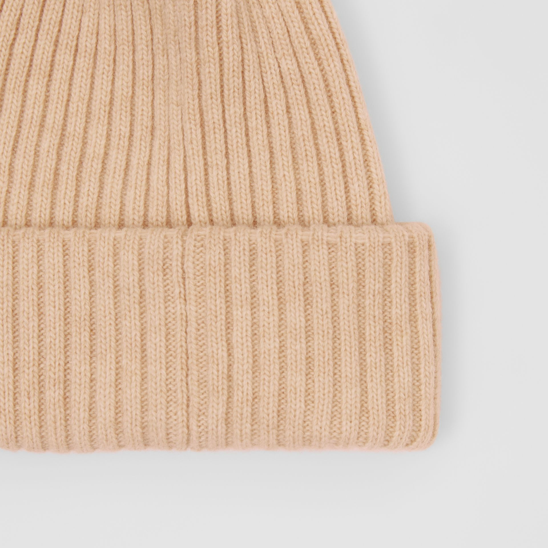 Rib Knit Wool Beanie in Beige | Burberry - gallery image 1