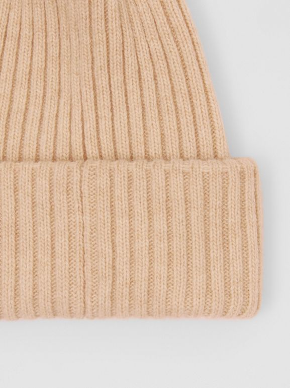 Rib Knit Wool Beanie in Beige | Burberry - cell image 1