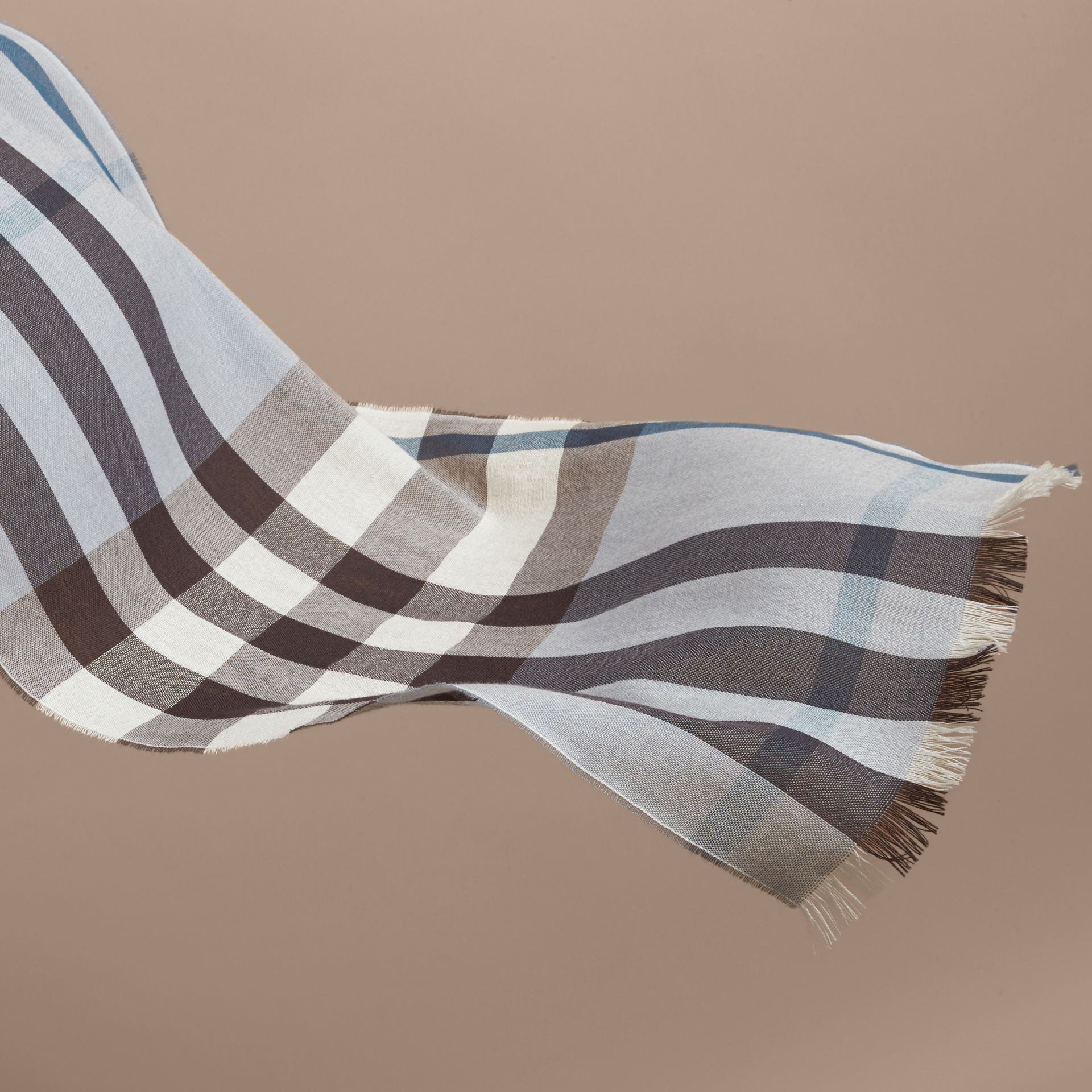 Lightweight Check Wool Cashmere Scarf in Mist Grey | Burberry - gallery image 4