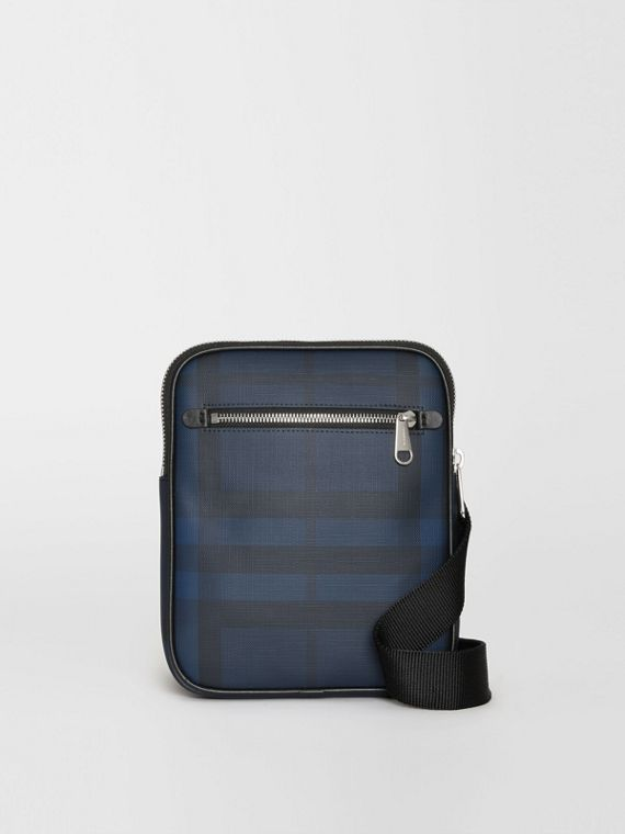 Slim London Check Crossbody Bag in Navy/black