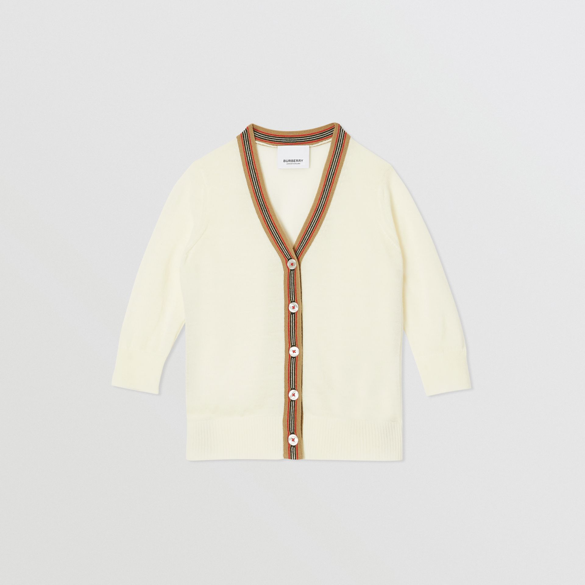 Icon Stripe Detail Merino Wool Cardigan in Ivory - Children | Burberry - gallery image 0