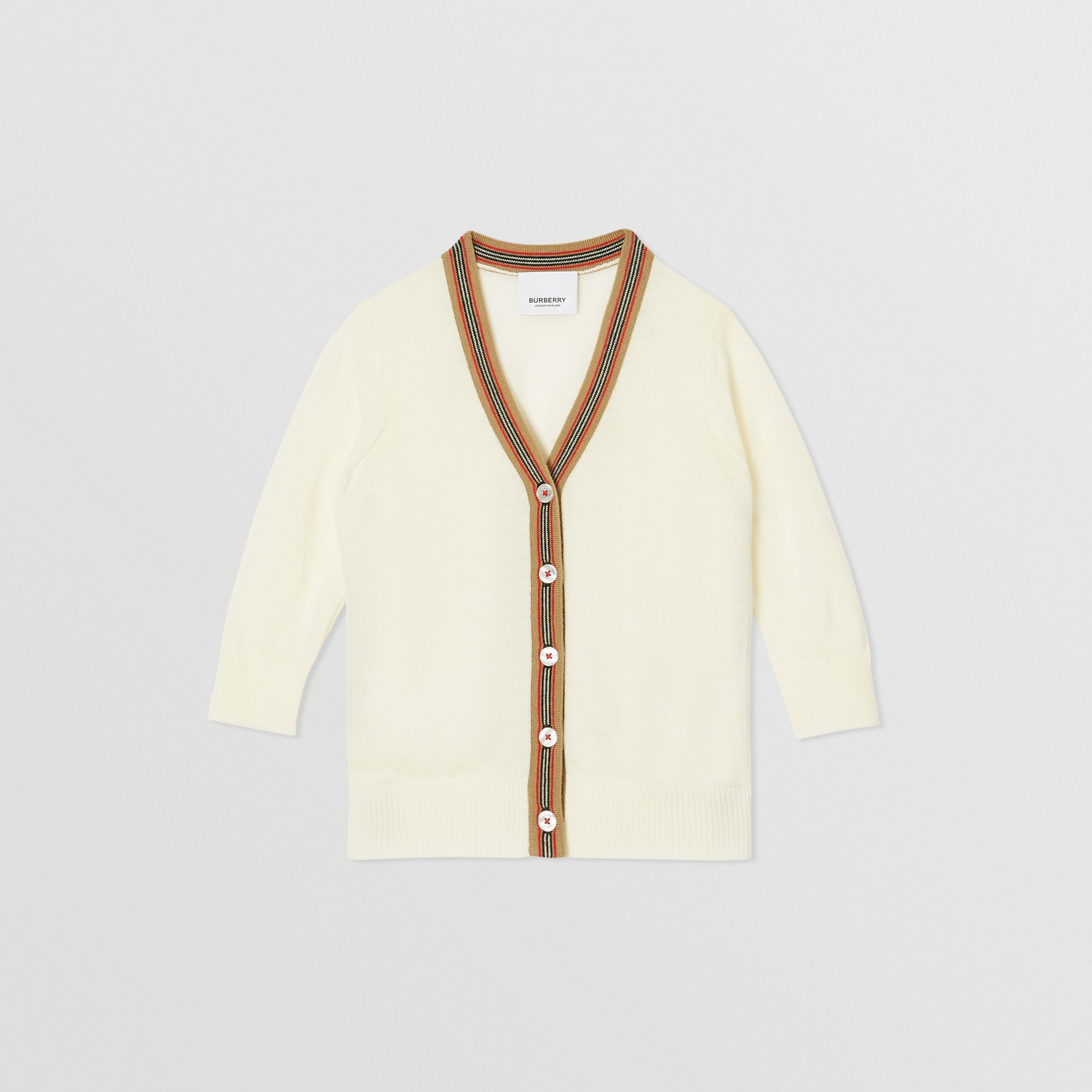 Icon Stripe Detail Merino Wool Cardigan in Ivory - Children | Burberry United Kingdom - 1