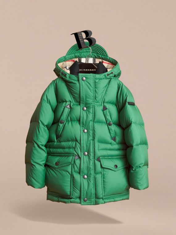 Down-filled Hooded Puffer Jacket in Pigment Green - Boy | Burberry - cell image 2