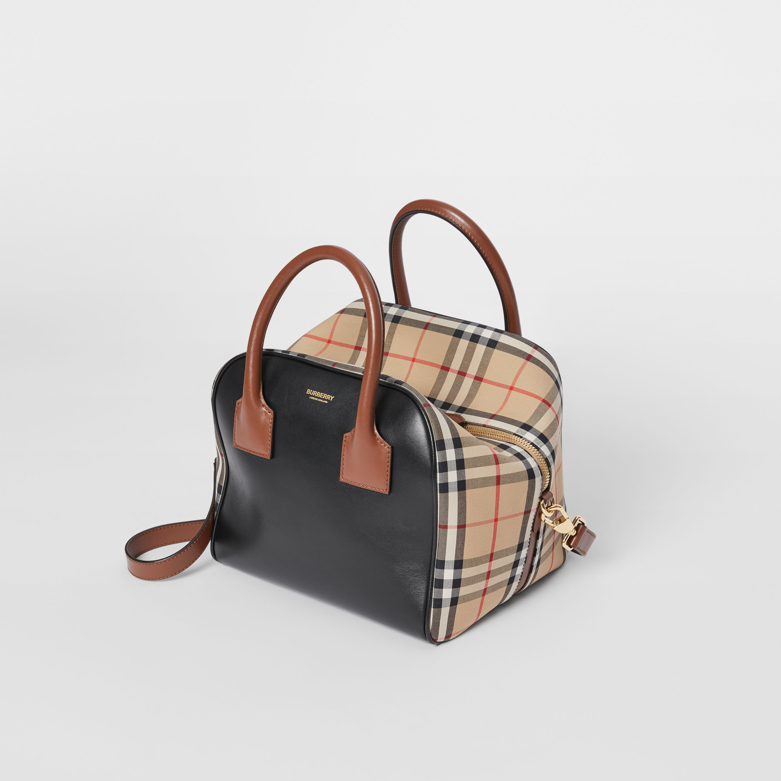 Small Leather and Vintage Check Cube Bag in Archive Beige - Women | Burberry - 4