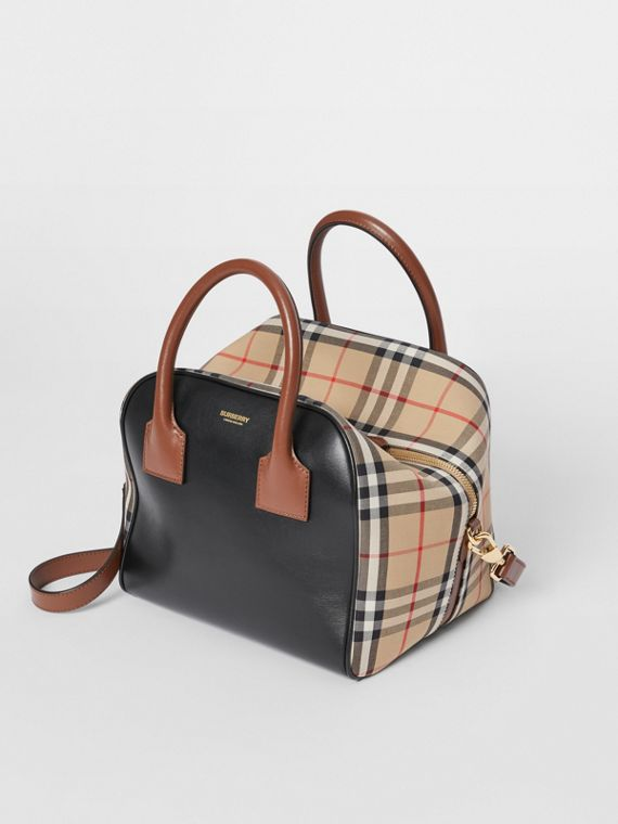 Small Leather and Vintage Check Cube Bag in Archive Beige