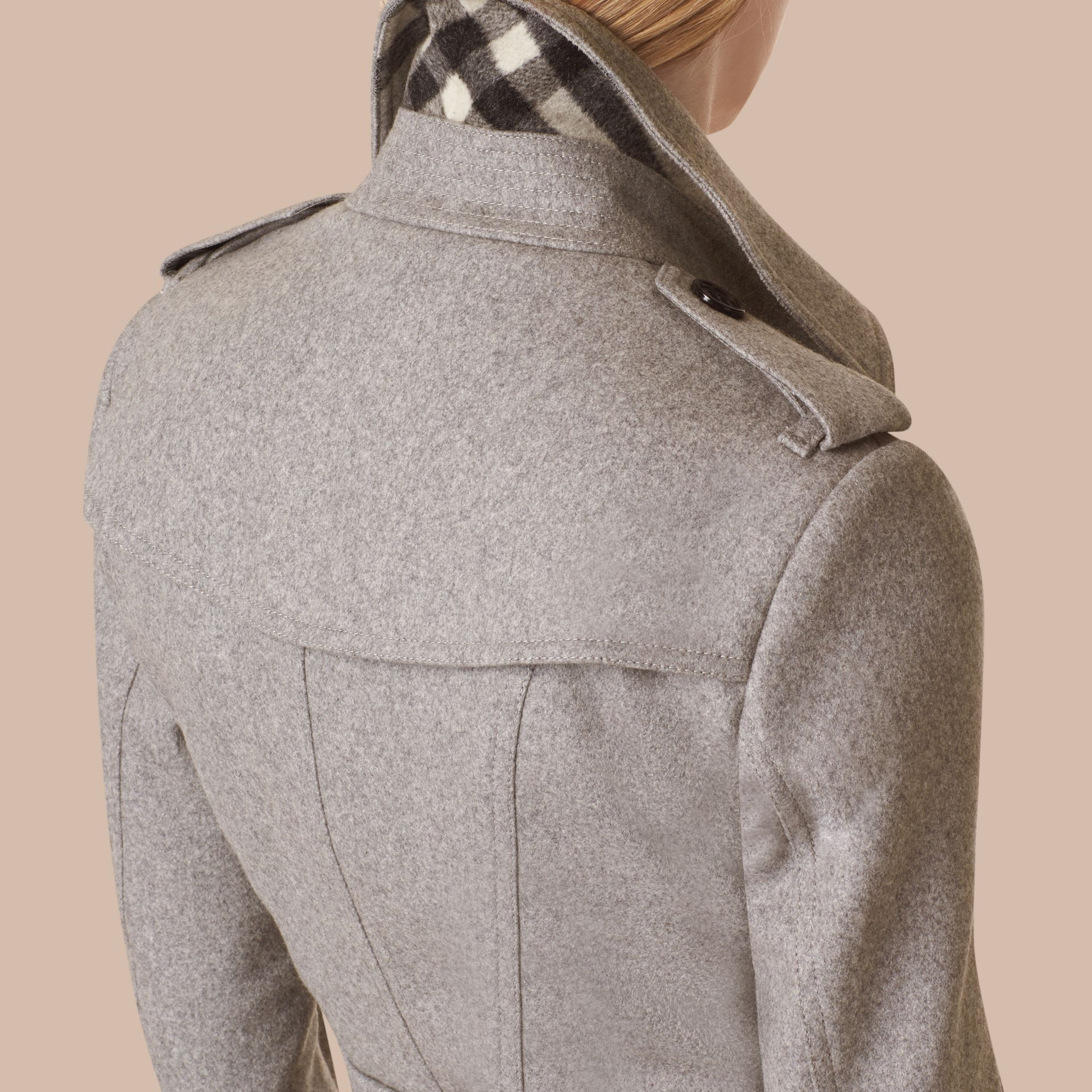 Sandringham Fit Cashmere Trench Coat in Pale Grey - gallery image 2