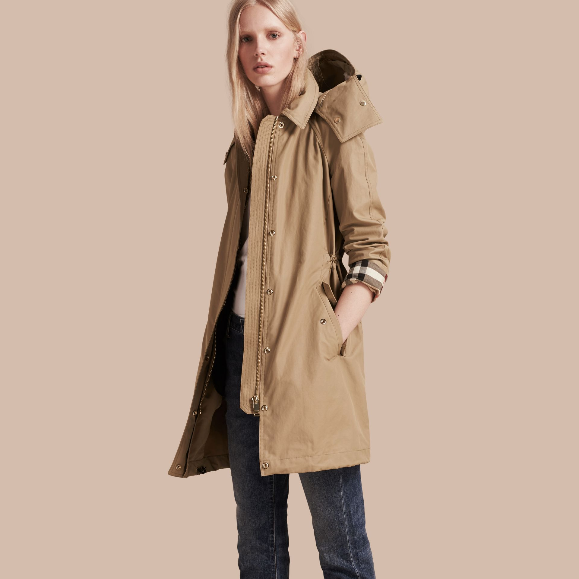 Canvas Hooded Cotton Blend Parka with Detachable Warmer Canvas - gallery image 1