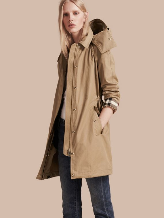 Hooded Cotton Blend Parka with Detachable Warmer Canvas