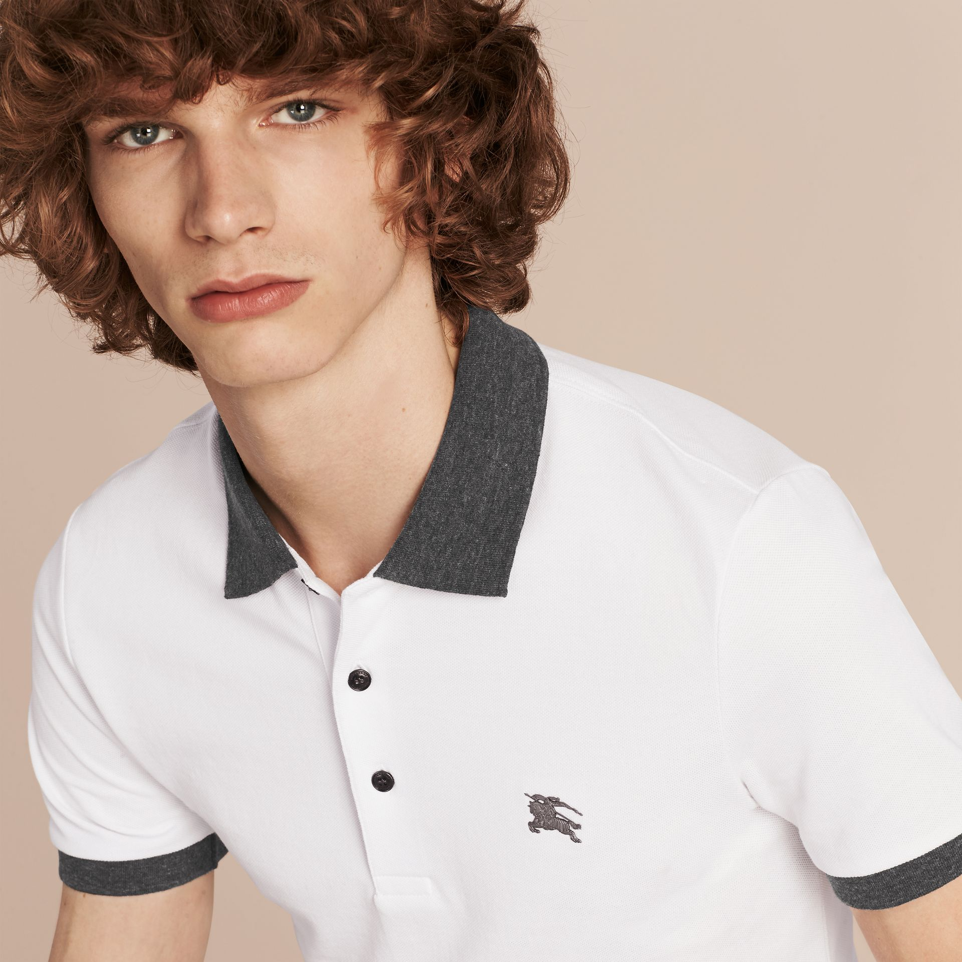 Contrast Colour Detail Cotton Piqué Polo Shirt in White - gallery image 5