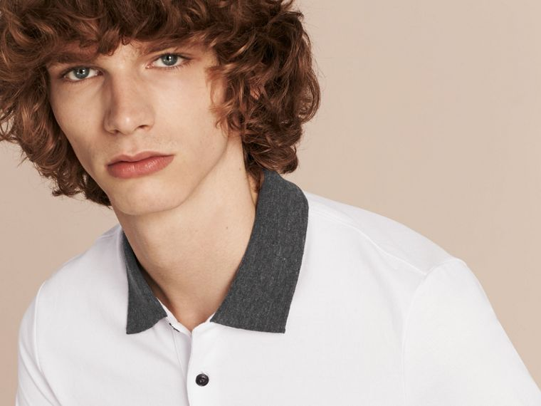 Contrast Colour Detail Cotton Piqué Polo Shirt in White - cell image 4