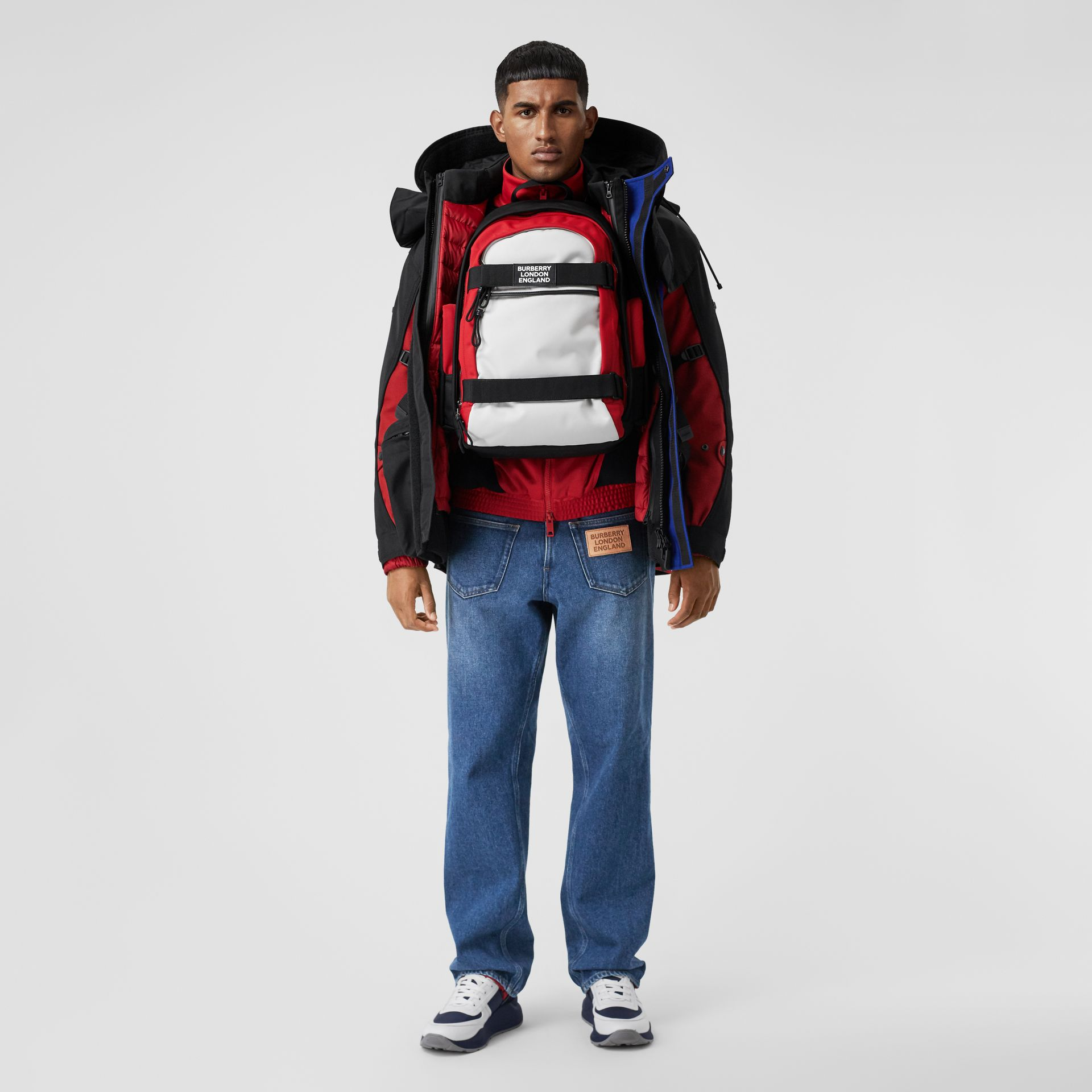 Large Colour Block Nevis Backpack in White/red/black | Burberry - gallery image 7