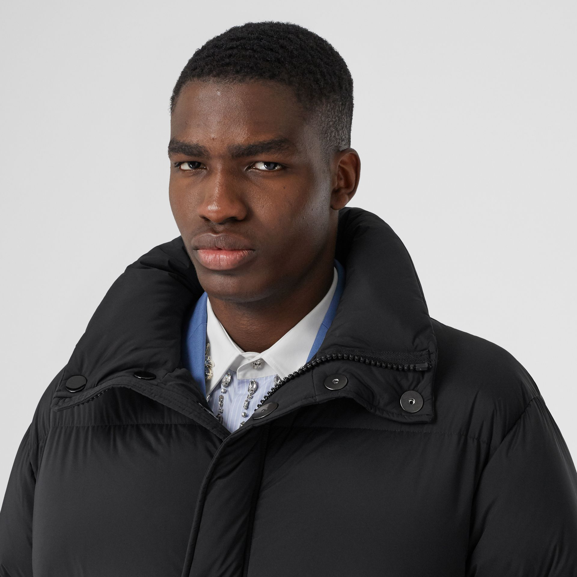 Detachable Hood Stretch Nylon Puffer Coat in Black - Men | Burberry United Kingdom - gallery image 1